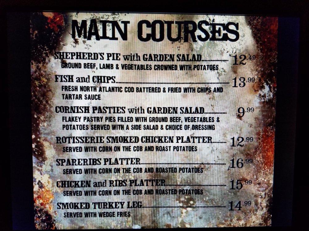 Main Courses Menu at the Three Broomsticks
