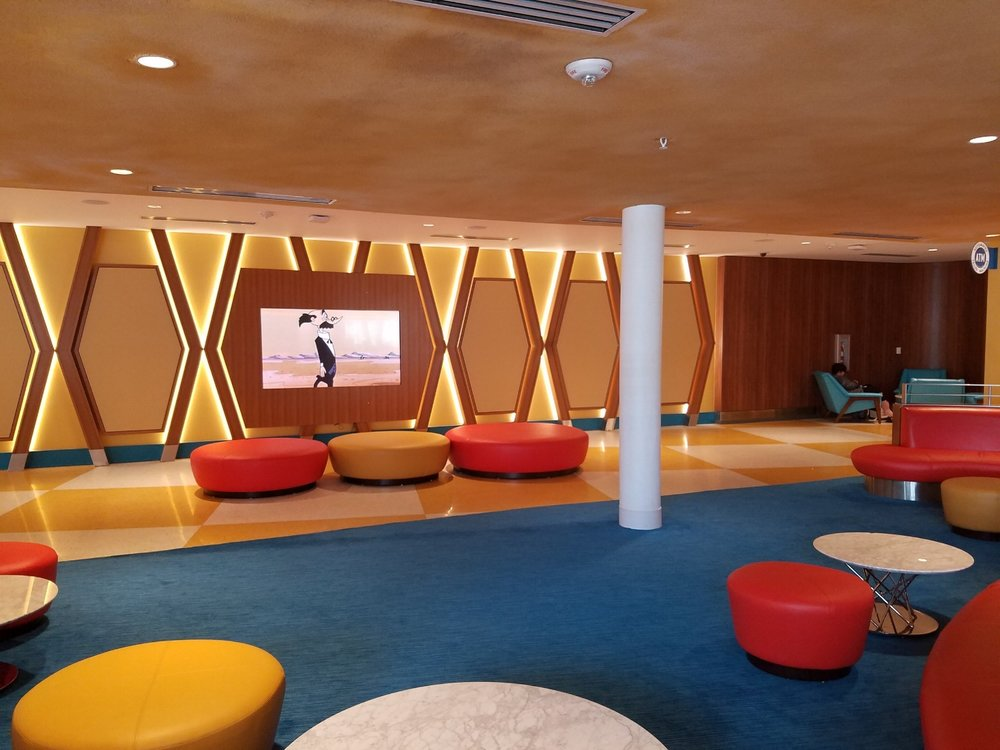 Public lounge in Universal's Cabana Bay Beach Resort.