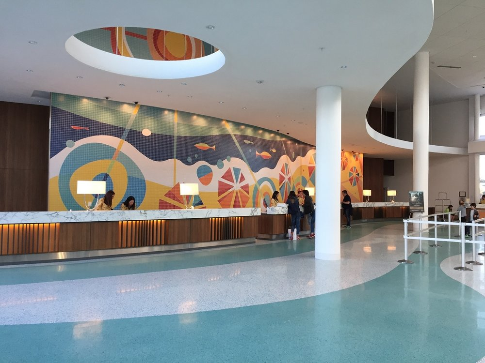 The front desk in the lobby of Universal's Cabana Bay Beach Resort.