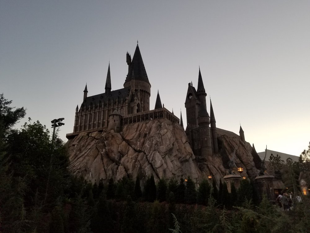 Hogwarts Castle in Islands of Adventure at dusk.
