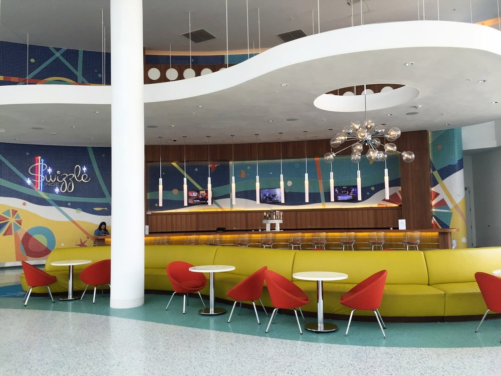 The Swizzle Lounge in the lobby area of Universal's Cabana Bay Beach Resort.