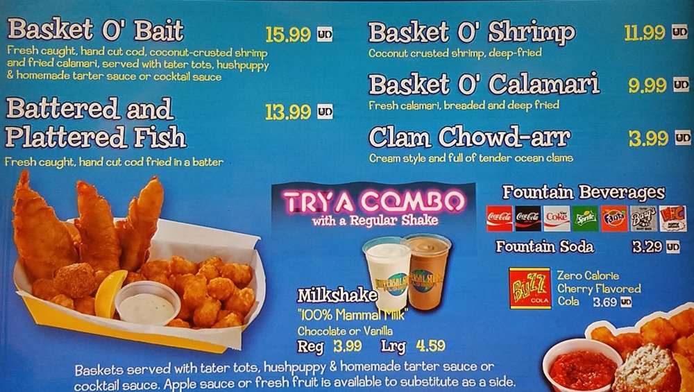 The Frying Dutchman menu with prices.