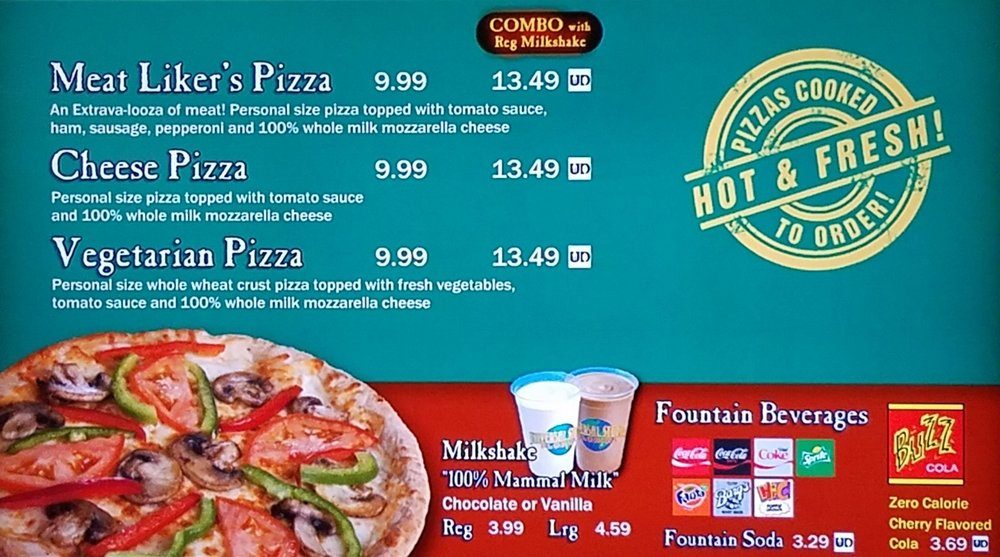 Luigi's Pizza menu with prices.
