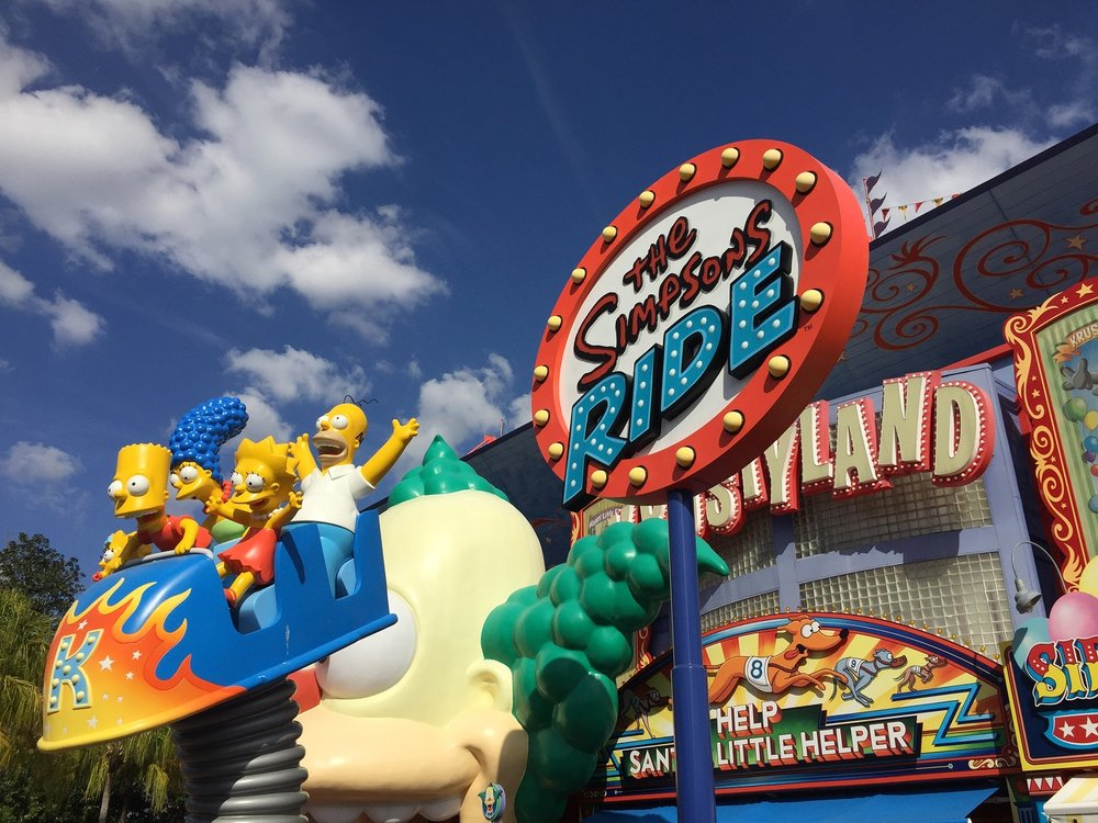 The Simpsons Ride is located in the Springfield area of Universal Studios Florida. This motion simulator ride takes guests on a trip to Krustyland. All of the action takes place on an 80-foot IMAX dome.