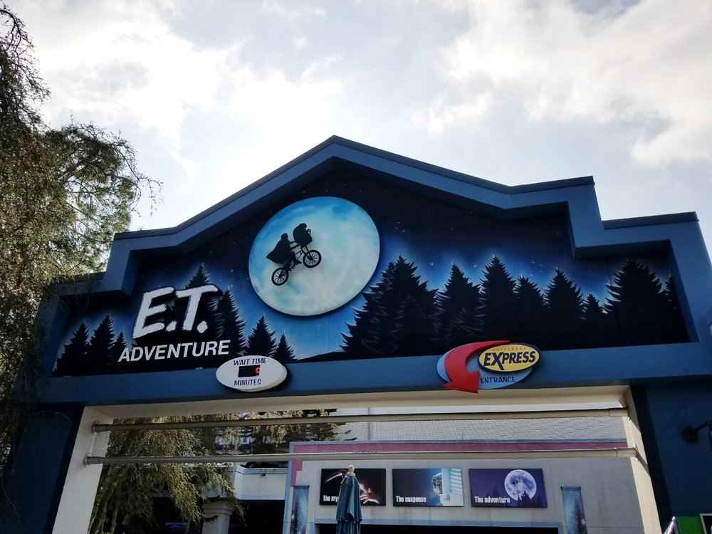 E.T. Adventure is located in Woody Woodpecker's KidZone. The ride takes guests to E.T.'s home planet (the Green Planet). You'll see more than 300 characters, plants, and trees when you visit this attraction.