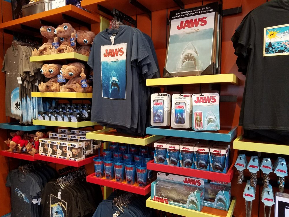 E.T. and Jaws merchandise in The Film Vault store in Universal Studios Florida.