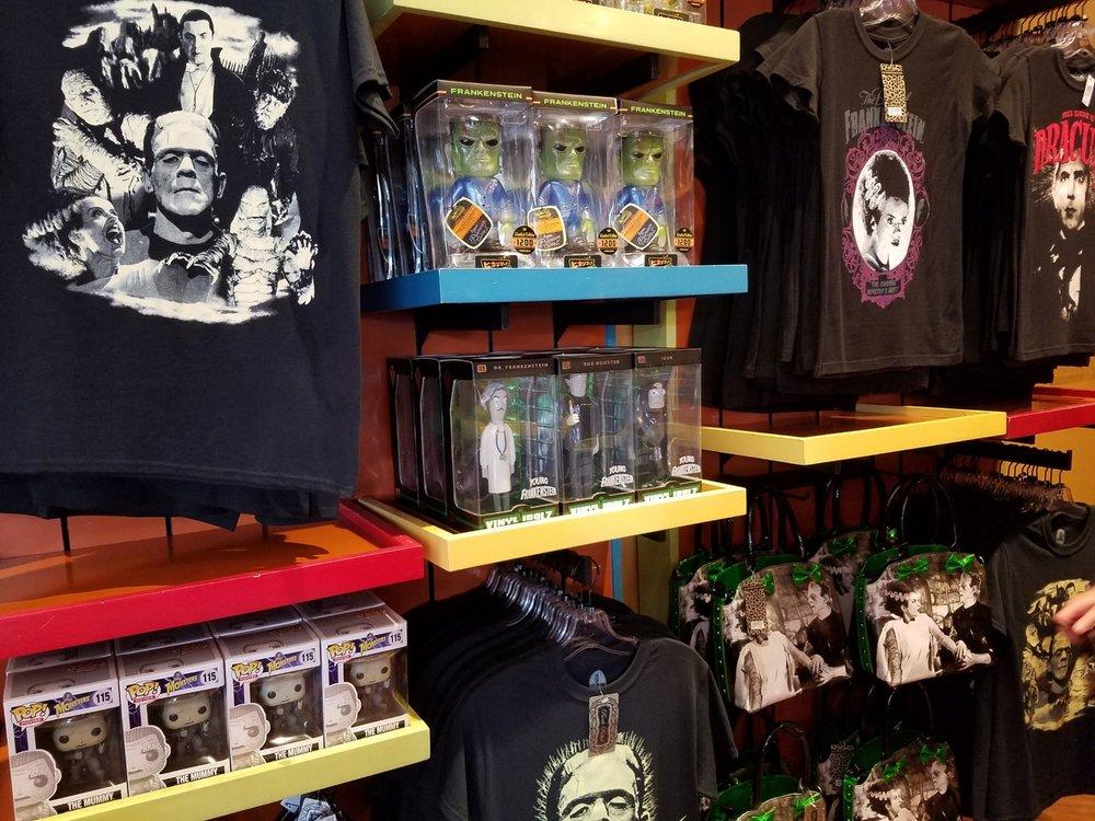 Universal classic monsters merchandise in The Film Vault store in Universal Studios Florida.