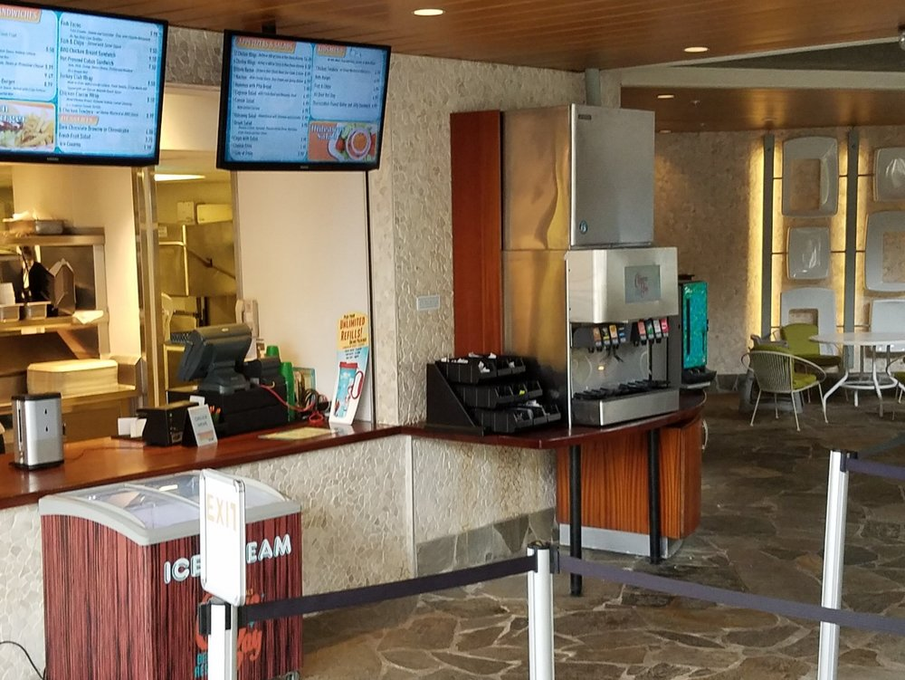 The Hideaway Bar and Grill is a quick service restaurant. You order food at the counter and choose your own seat. If you purchased the Cabana Bay Unlimited Refill Drink Package, you can refill your cup here.