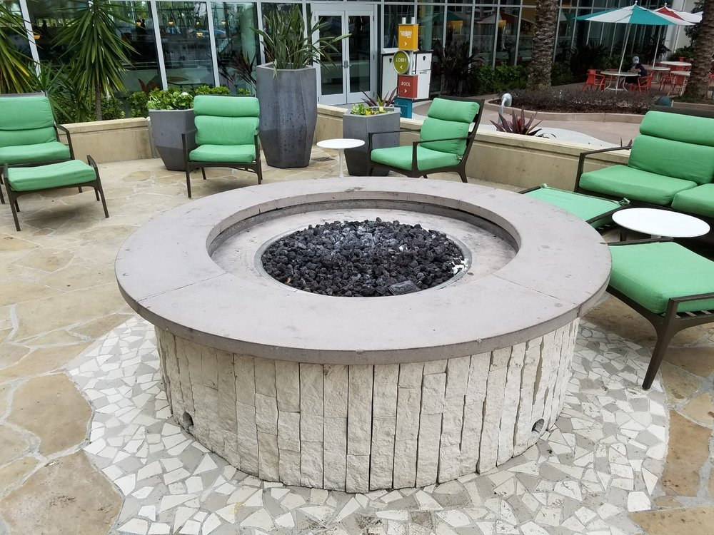 There are several fire pits near the Lazy River pool. Fires are lit at night.