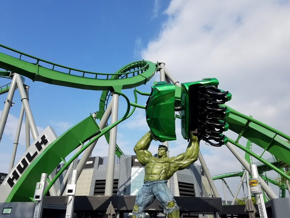The Incredible Hulk Roller Coaster in Islands of Adventure. On this ride, you reach speeds as high as 67 miles per hour as you travel the 3,700 feet of track. The accelerated launch is the best part.