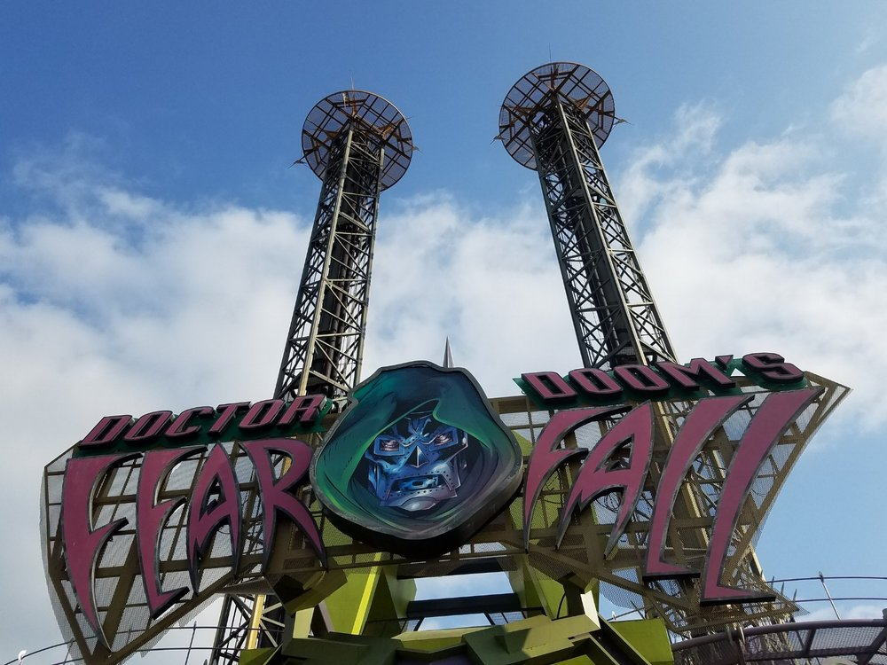 Doctor Doom's Fear Fall in Islands of Adventure. This ride propels you 185 feet into the air with a thrust more powerful than a 747 jet engine. The ride is short but fun.