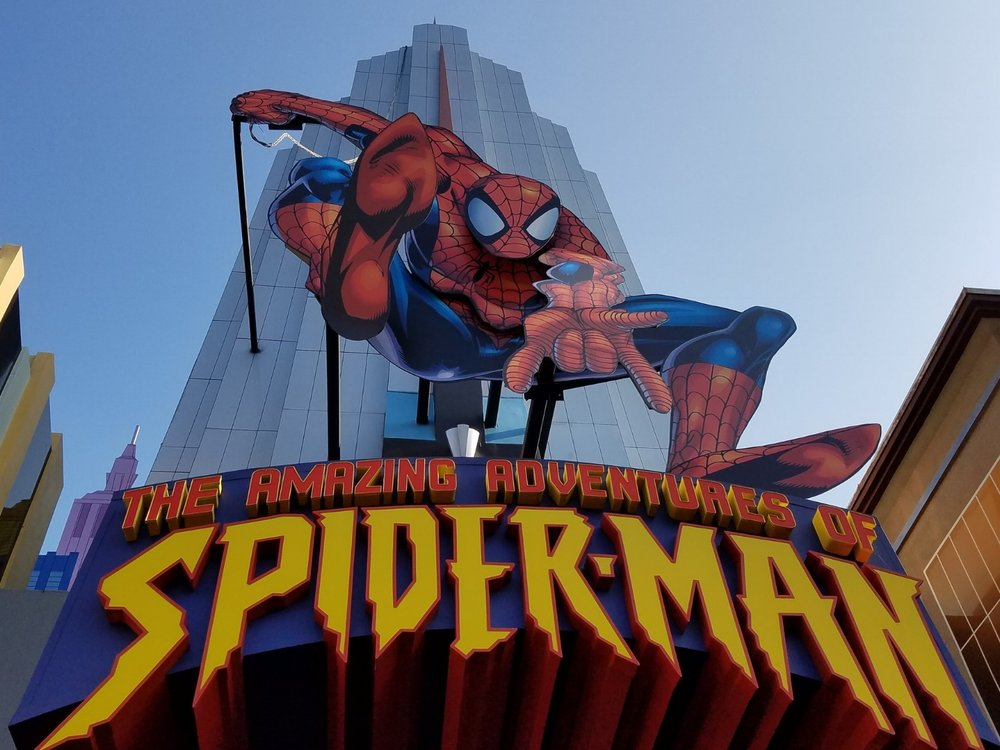 The Amazing Adventures of Spider-Man in Islands of Adventure. This ride has 3D effects and a virtual 400 foot freefall experience.