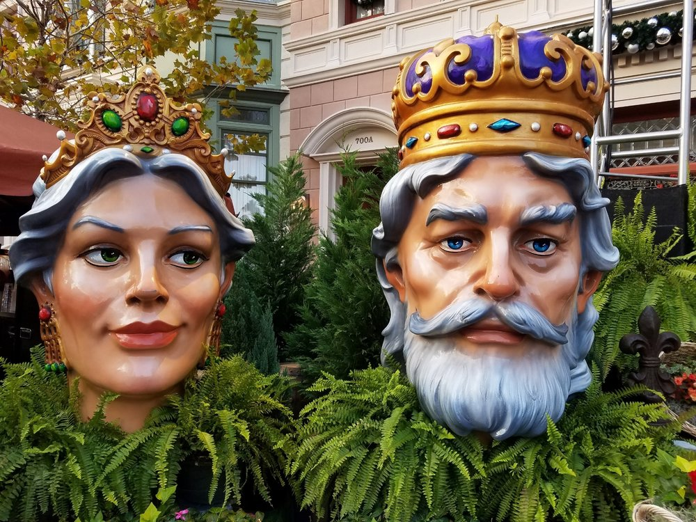 Queen and King of Universal Mardi Gras in the French Quarter of Universal Studios Florida.