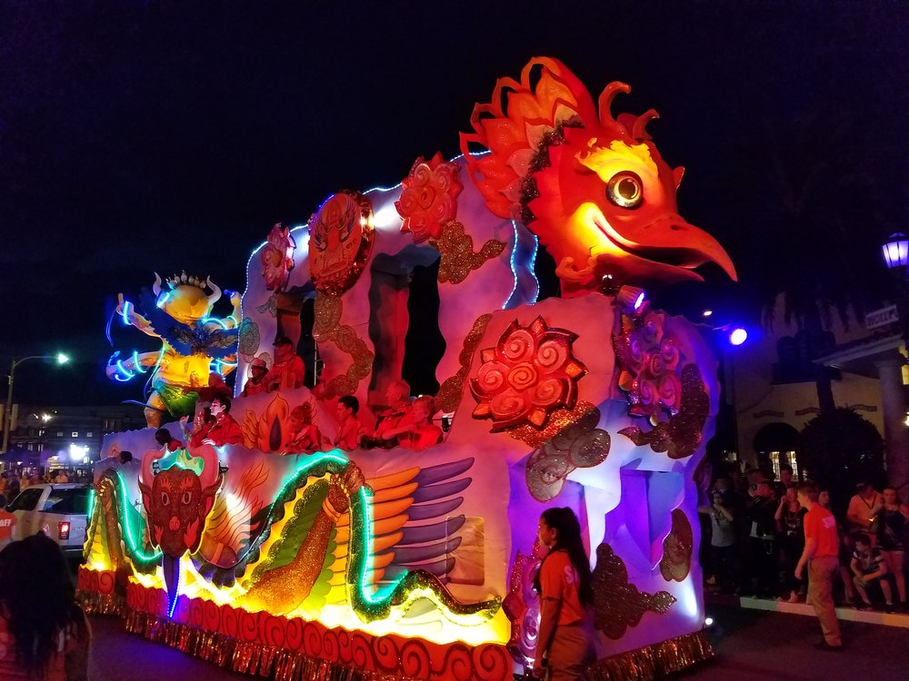 Rise of the Garuda Float in the Universal Mardi Gras parade.