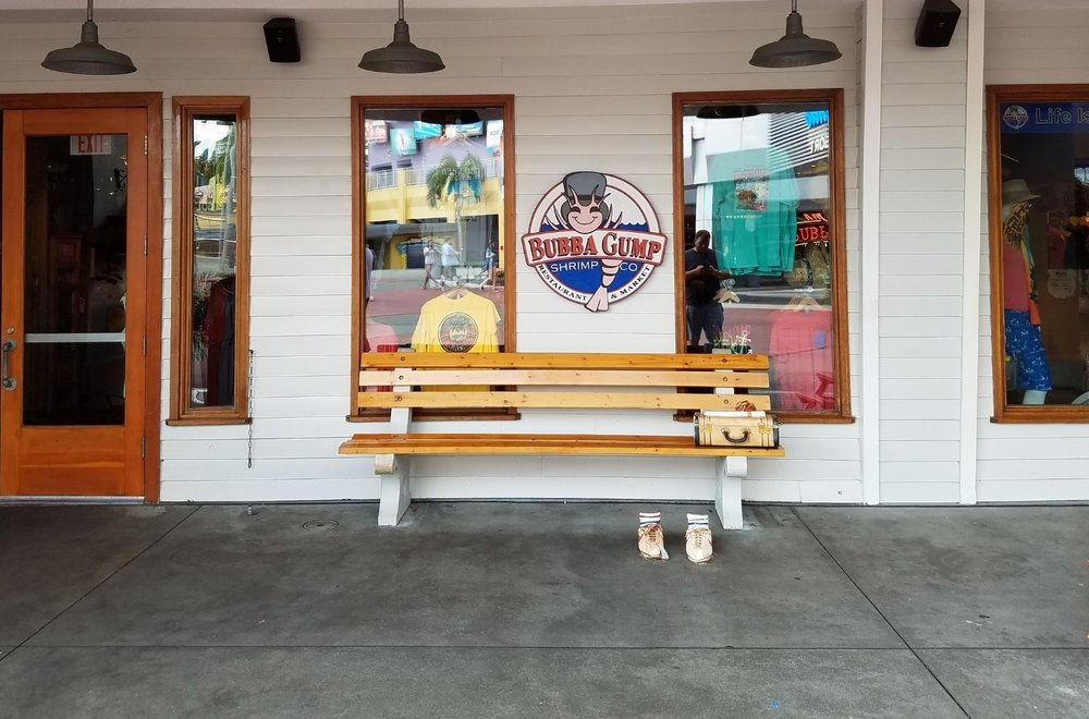 The Forrest Gump photo op outside of Bubba Gump Shrimp Co.