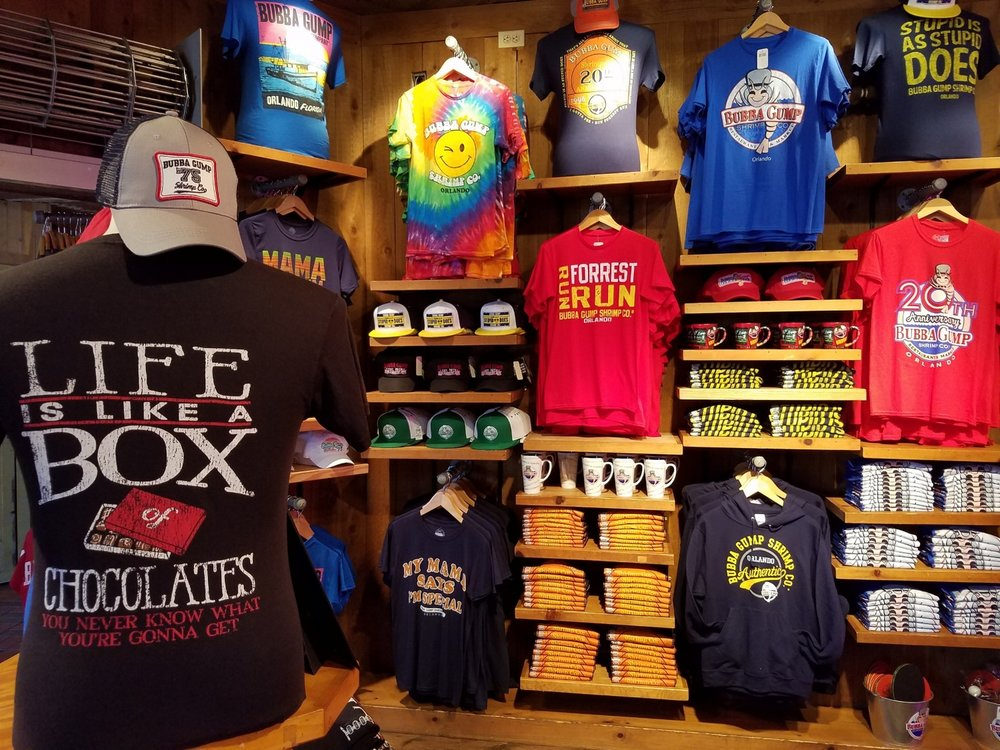 Forrest Gump and Bubba Gump merchandise at the Bubba Gump Shrimp Co. retail store
