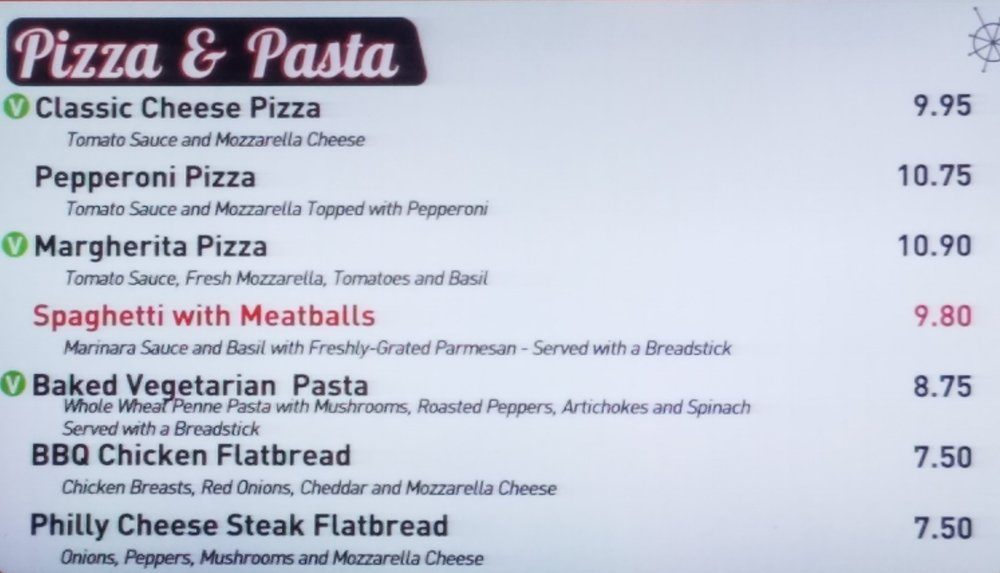 Bayliner Diner's Delizioso menu with main dishes