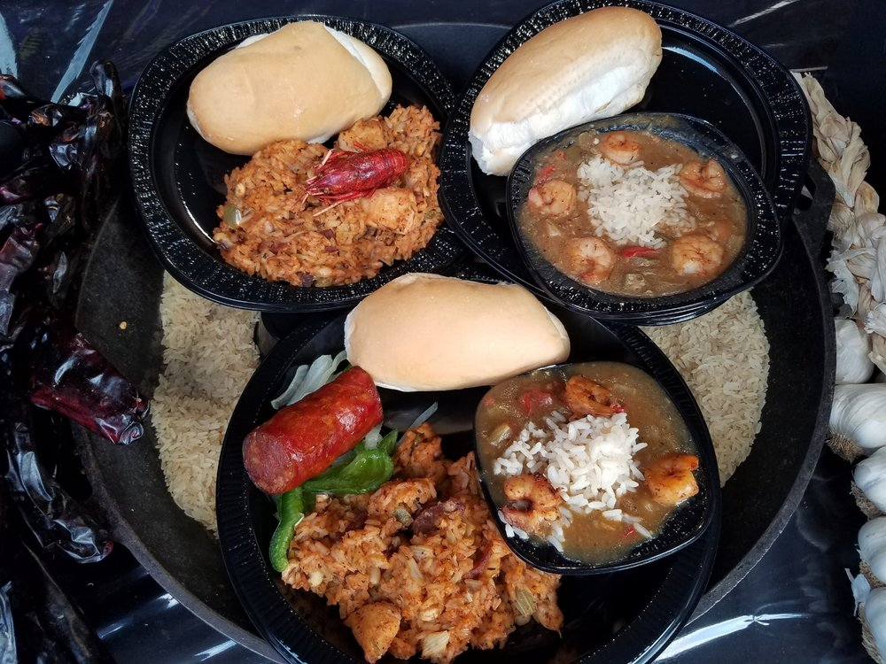 Jambalaya, Shrimp Gumbo, and Cajun Sampler at Universal Mardi Gras 2017