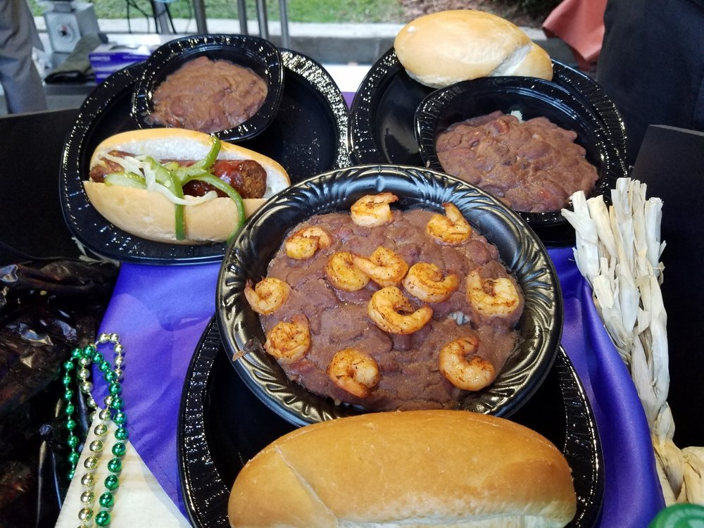 Andouille Sausage, Red Beans/Rice, and Red Beans/Rice With Shrimp at Universal Mardi Gras 2017