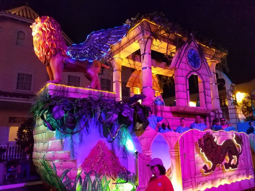 Manticore's Majesty Float (front view) at Universal Mardi Gras 2017