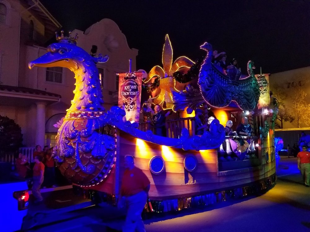 Krewe of Dionysus Float (front view) at Universal Mardi Gras 2017