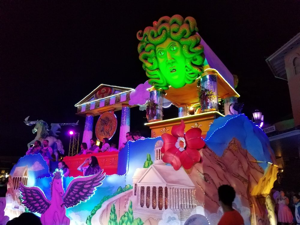 The Flight of the Pegasus Float (back view) at Universal Mardi Gras 2017