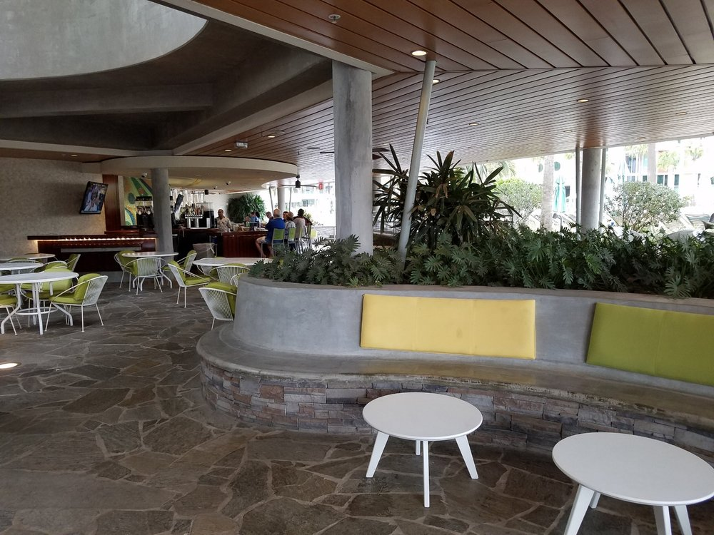 You'll find the bar and seating on the ground floor level of the Hideaway Bar and Grill at Universal's Cabana Bay Beach Resort.
