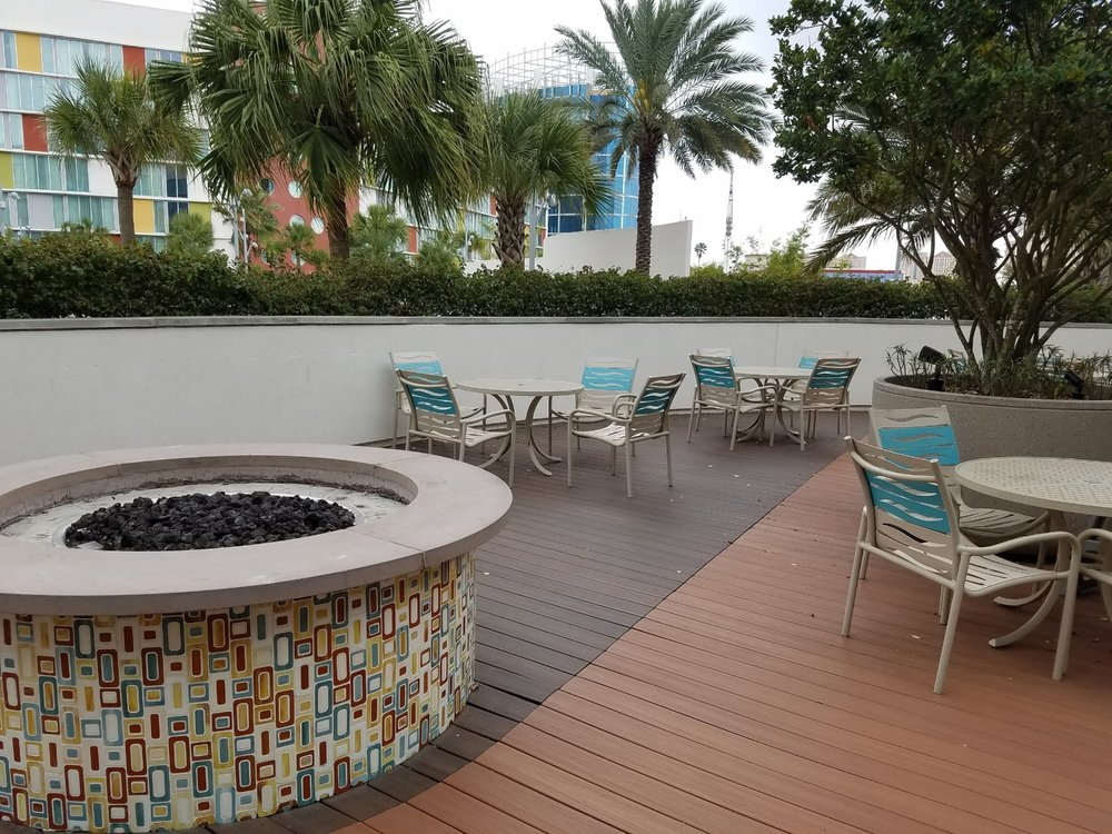 You'll find fire pits and additional seating on the upper deck level of the Hiedaway Bar and Grill at Universal's Cabana Bay Beach Resort.