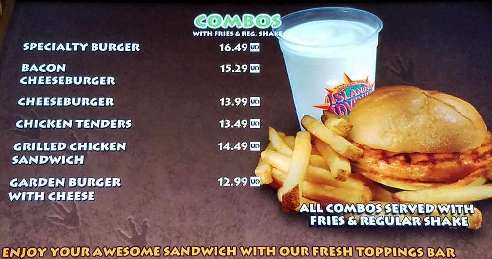 The Burger Digs combo menu with prices.