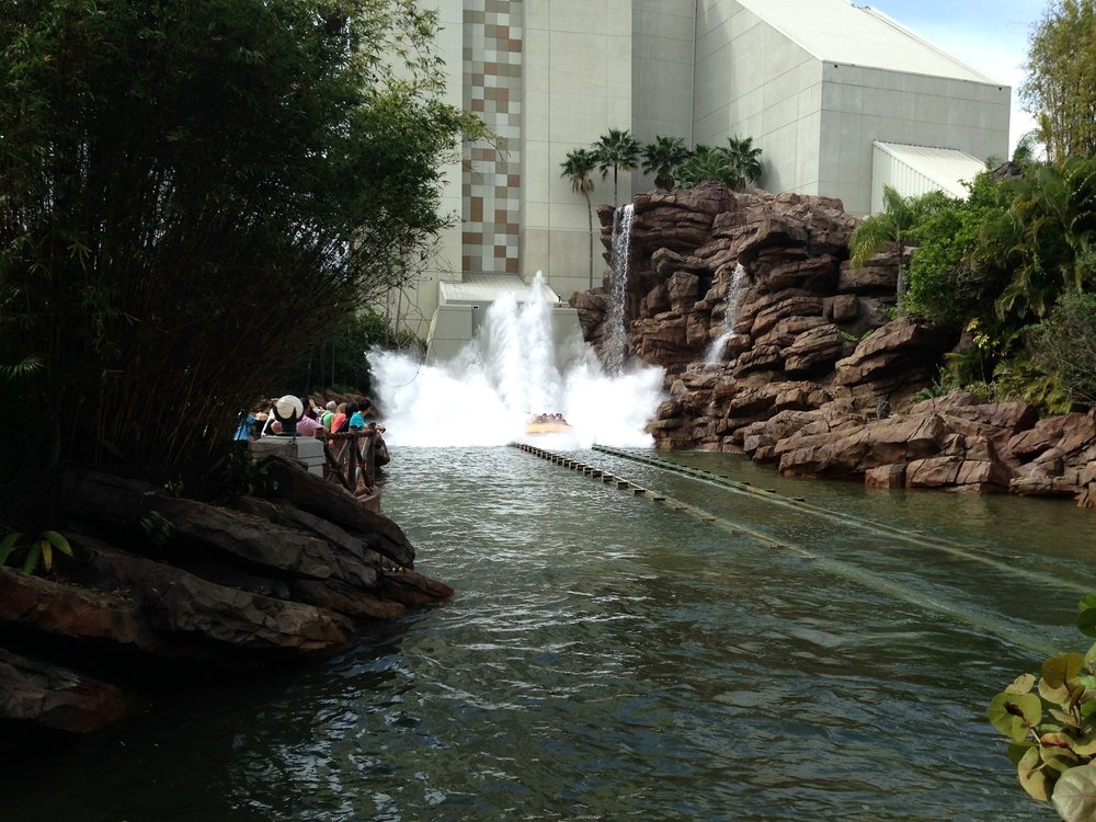 Some of the outdoor seating at Thunder Falls Terrace has a view of the Jurassic Park River Adventure ride.