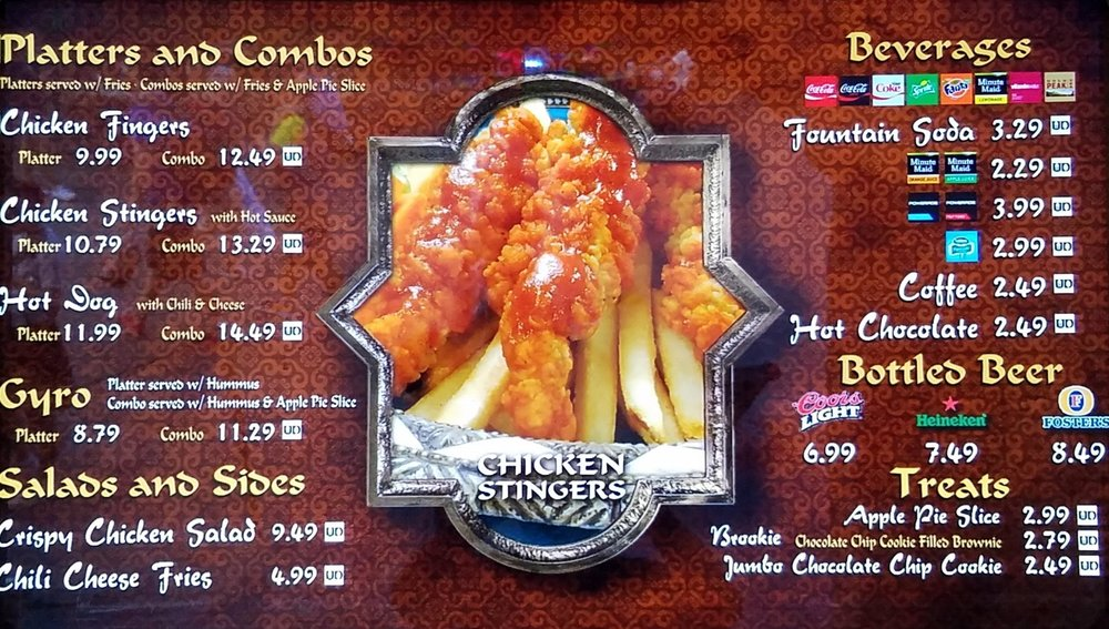Fire Eater's Grill menu.