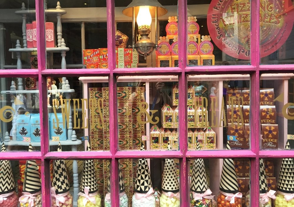 Display window at Sugarplum's Sweet Shop