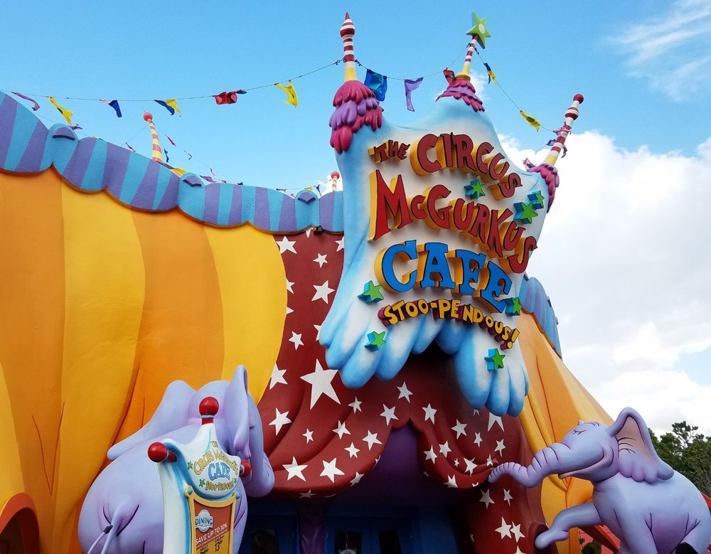 The entrance of The Circus McGurkus Café Stoo-Pendous in Seuss Landing