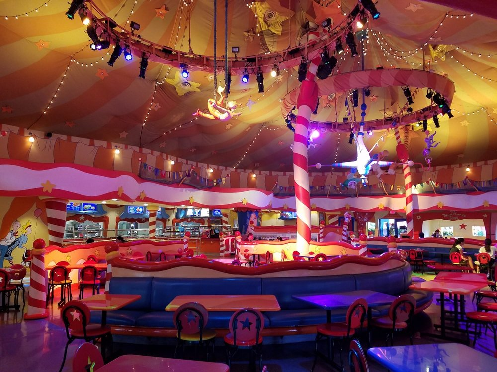The dining area inside The Circus McGurkus Café Stoo-Pendous