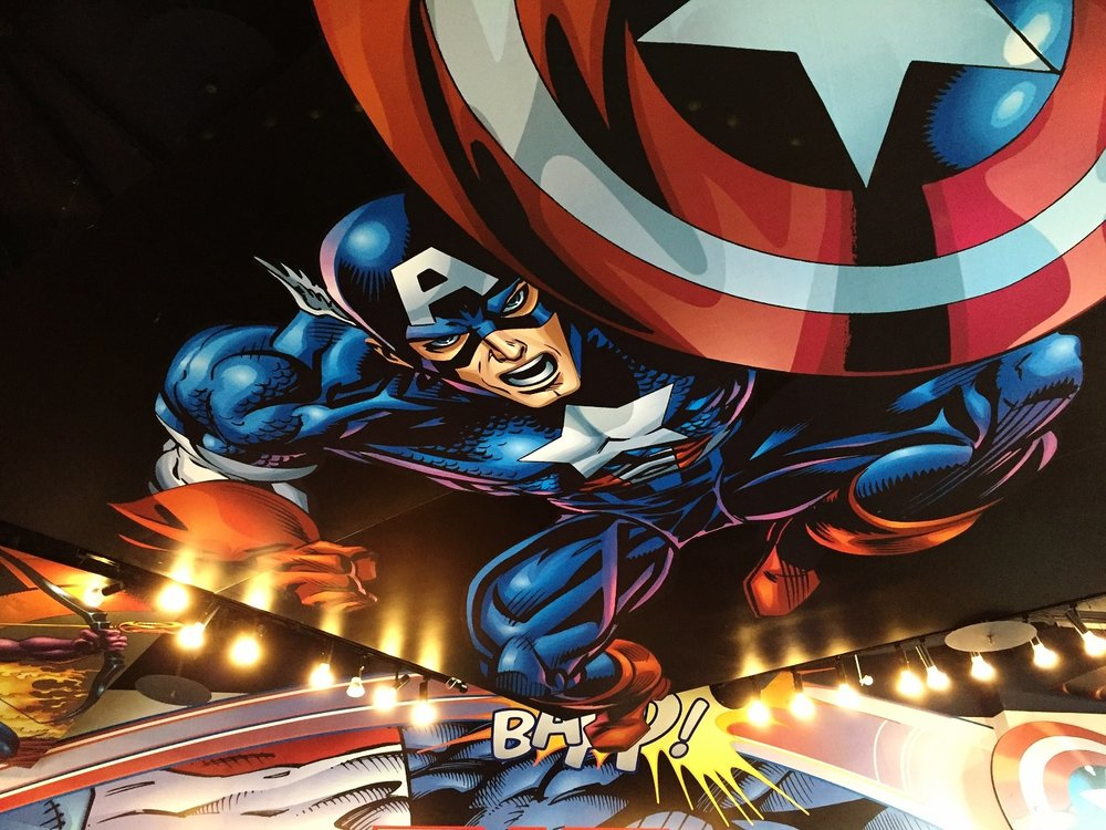 Artwork inside Captain America Diner