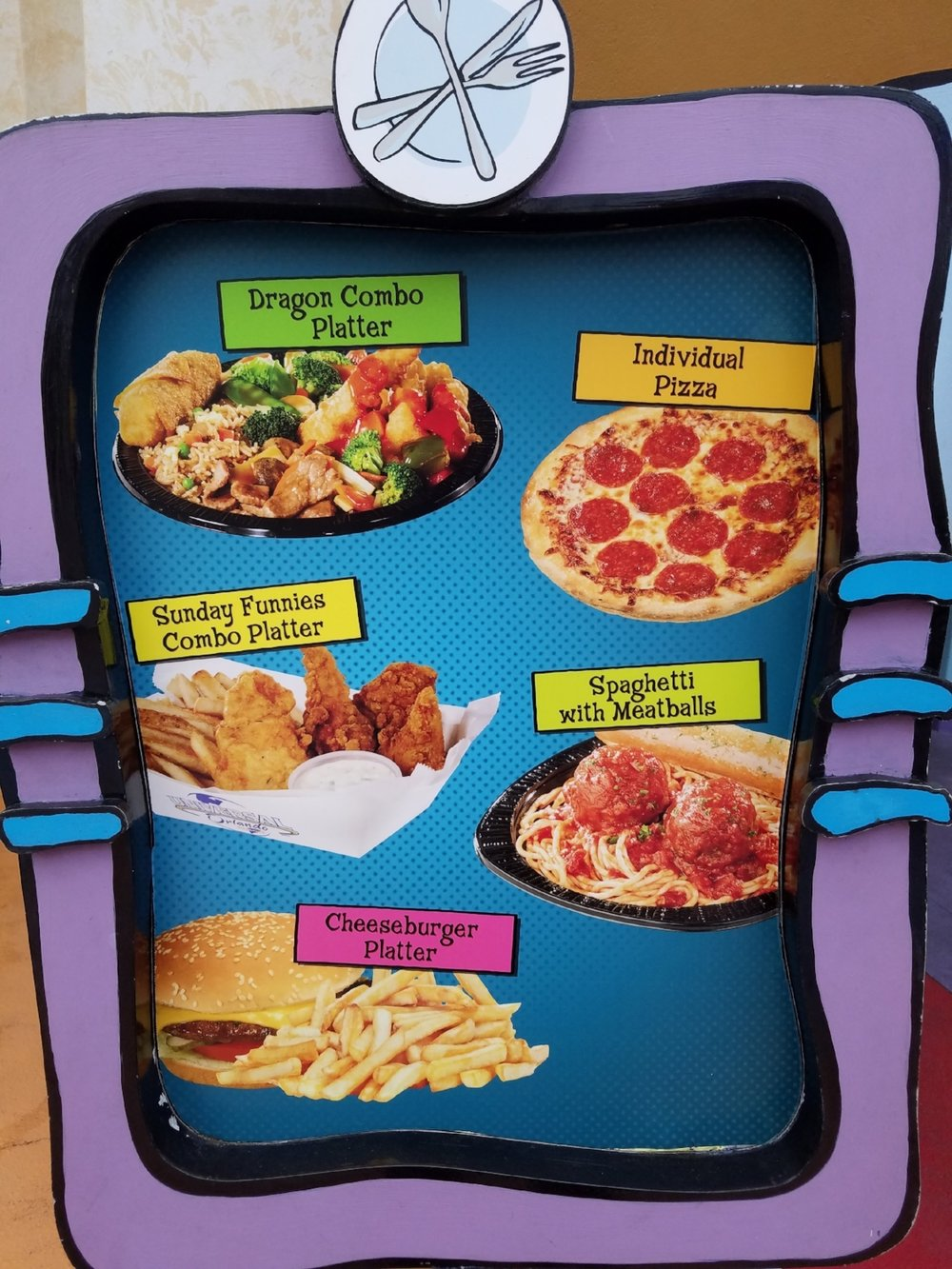 Comic Strip Cafe menu
