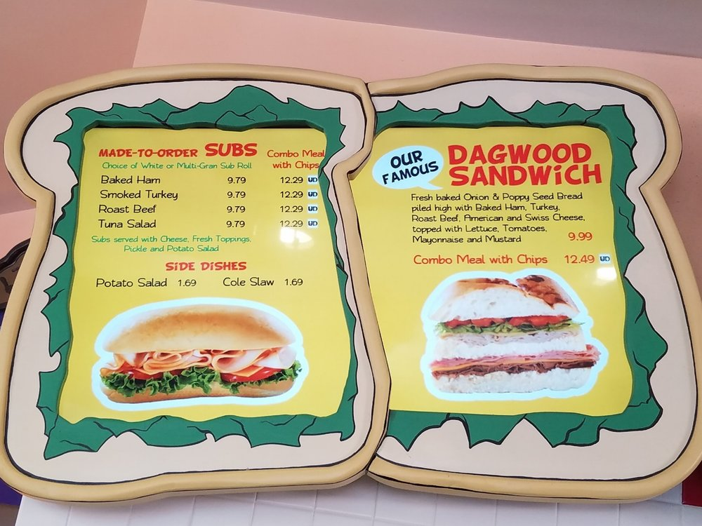 Blondie's sandwich menu