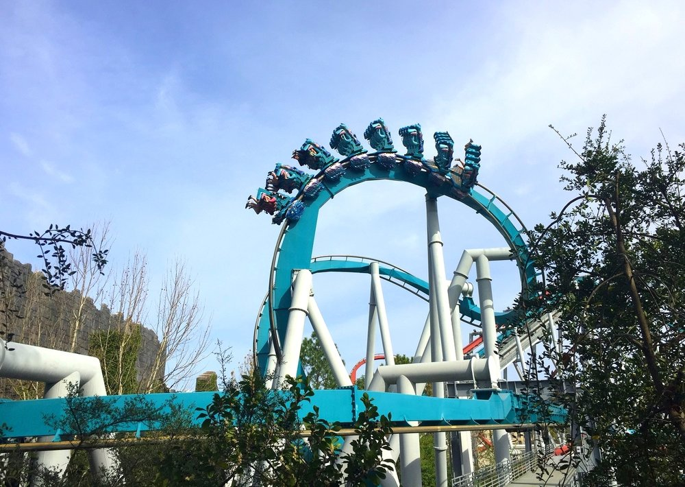 Each Dragon Challenge coaster featured inversions like this one.