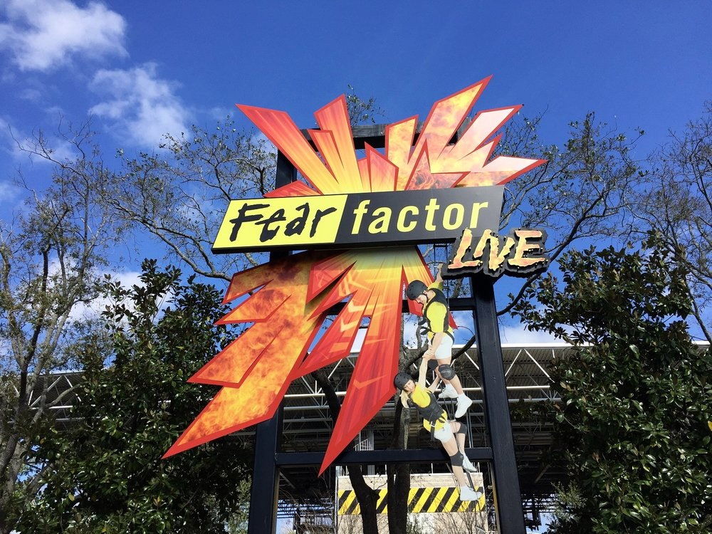 Fear Factor Live sign at the front of the attraction.