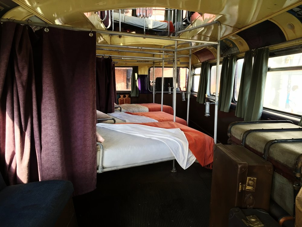 Make sure you climb the steps at the back of the bus to view the interior, which is equipped with beds and a fancy chandelier.