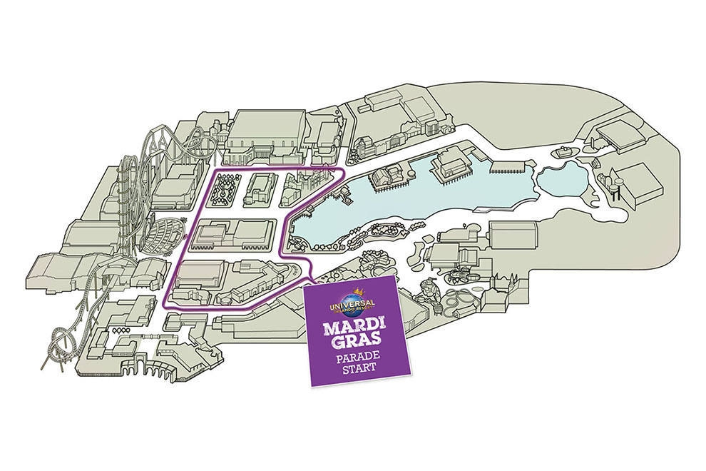 A map of the Universal Mardi Gras Parade route. Image credit: Universal Orlando Resort.