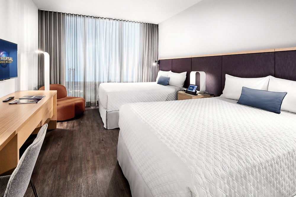 Guest room at Universal's Aventura Hotel.  Copyright Universal Orlando Resort. All rights reserved.