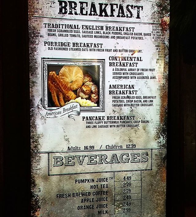 The Three Broomsticks breakfast menu. Breakfast meals are $16.99 for adults and $12.39 for children. Each meal includes a drink. #UniversalOrlando #Orlando  #WWOHP #HarryPotter #Food #Menu