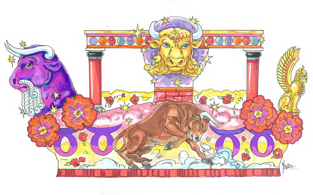 Sketch of the Taurus float. Copyright Universal Orlando Resort. All rights reserved.