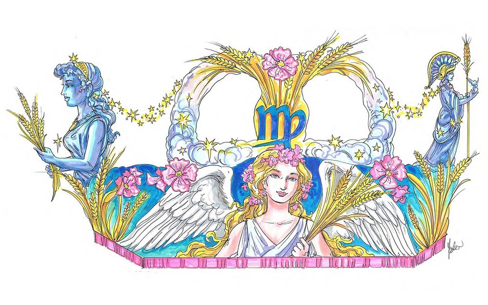Sketch of the Virgo the Maiden float. Copyright Universal Orlando Resort. All rights reserved.