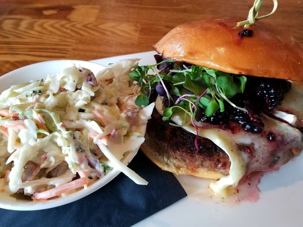 Black & Brie Burger with Housemade Bacon Coleslaw from The Cowfish