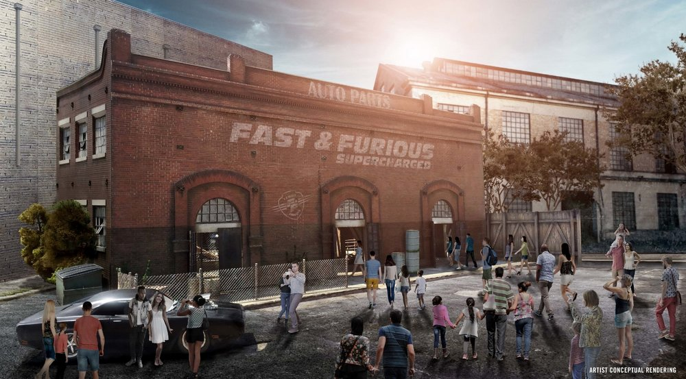 Artist rendering of the Fast & Furious: Supercharged ride building. Image credit: Universal Orlando Resort.