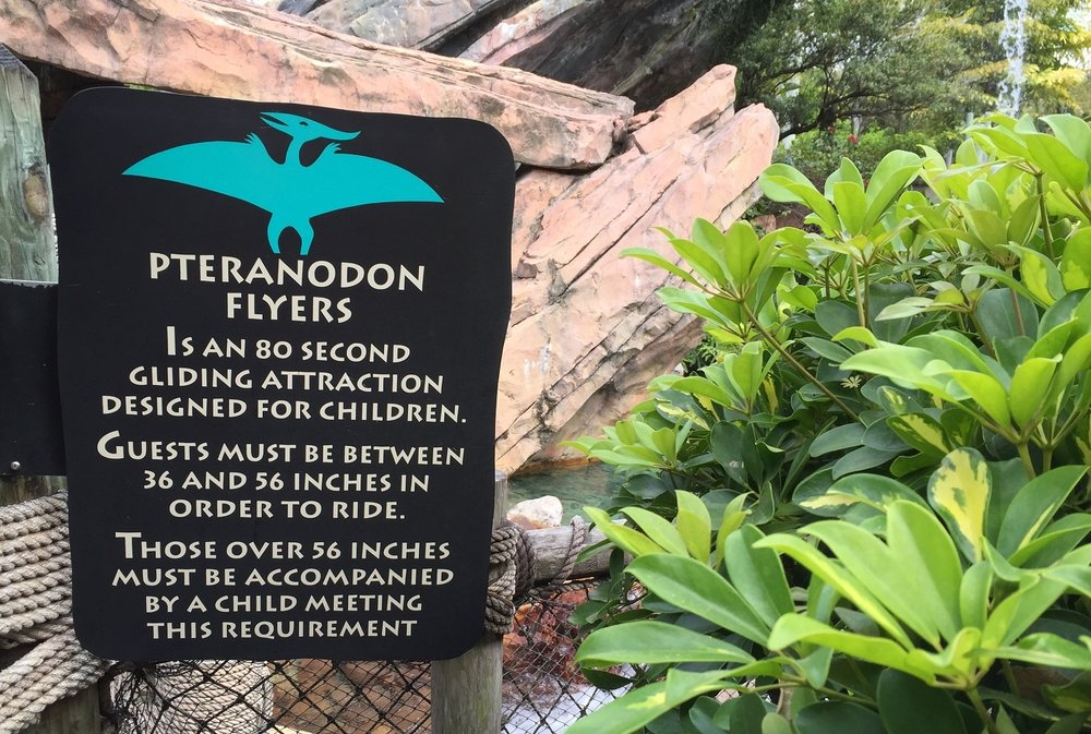 The sign outside Pteranodon Flyers describes the attraction.