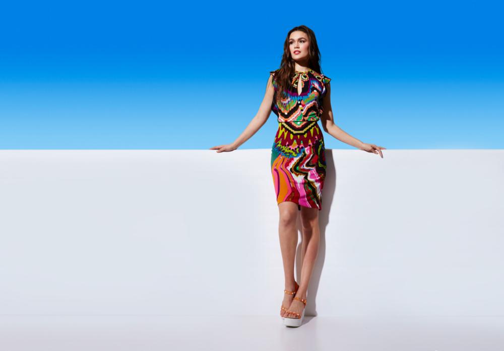 Roberto Cavalli print dress, Pedro Garcia platform sandals