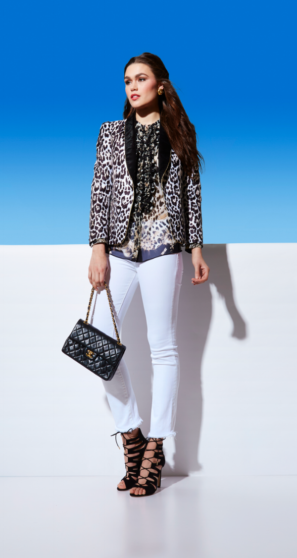 Roberto Cavalli print blazer and silk blouse, DL1961 denim, Jimmy Choo heels, vintage CHANEL handbag
